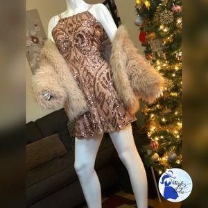 Blush Sequin Mini Party Dress